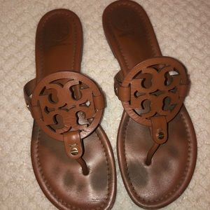 Tory Burch Brown Leather Miller Flip Flops